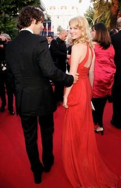 Josh Groban, January Jones  Cannes, 2005  I love the way he's looking at her (she, on the other hand is looking at the camera).