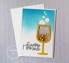 happy new year card by pamela ho for paper smooches wine glass die gently
