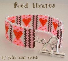Julie Ann Smith Designs RED HEARTS Bracelet Odd Count Peyote Beadweaving Pattern