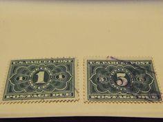 1913 BOB-#JQ1& JQ3 PARCEL POST POSTAGE DUE STAMPS -100 YRS OLD-USED, FINE-HIGHER PRICE STAMP