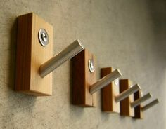 Modern Recycled Wood Wall Hooks