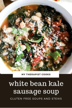 Brothy, tomato based sausage soup with white beans and kale! This gluten free sausage soup is DELICIOUS and gets better as it sits, making it the perfect meal prep soup. Make a double batch and freeze half, or make this vegetarian by skipping the sausage and adding an extra can of beans! Gluten Free Soup, Gluten Free Recipes For Dinner, Easy Soup Recipes, Dinner Recipes, White Bean Kale Soup, Sausage And Kale Soup, Canning Whole Tomatoes, White Beans, Soups And Stews