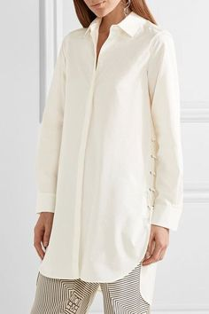 Max Mara - Oversized Lace-up Cotton-poplin Shirt - Ivory - UK