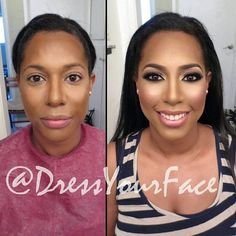 Hollywood's use of contour makeup has hit the mainstream and people's faces will never be the same again. Peep these before and after contour makeup pics.