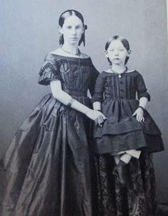 CDV Photo Victorian Civil War Era 2 Children Girls Mourning Dark Dress Jewelry | eBay