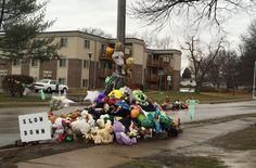 Street-side memorial for Michael Brown
