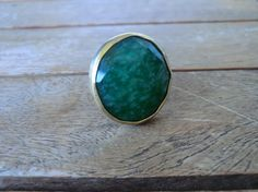 Adjustable ring green jade stone by craftysou on Etsy, $32.00