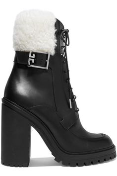 Givenchy - Aviator Shearling-trimmed Leather Ankle Boots - Black