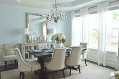 Formal Dining Room with Ikea Ritva Curtains and Crystal Chandelier