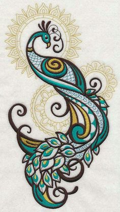 Embroidery Library - Machine Embroidery Designs Inspired Project Page Machine Embroidery Designs, Embroidery Stitches, Embroidery Patterns, Hand Embroidery, Embroidery Tattoo, Peacock Embroidery Designs, Geometric Embroidery, Embroidery Monogram, Simple Embroidery