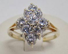 14K YELLOW GOLD DIAMOND CLUSTER COCKTAIL RING 1.00 CT TW 3.3g SZ 7 HIGH QUALITY #Cluster
