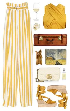 """""""Untitled #1492"""" by timeak ❤ liked on Polyvore featuring Tory Burch, Maison Margiela, Gucci, Drybar, Riedel and NOVICA"""