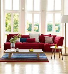 Red sofa setup