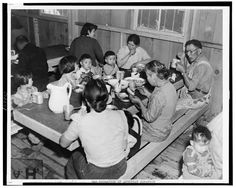 Mealtime at the Japanese war relocation center