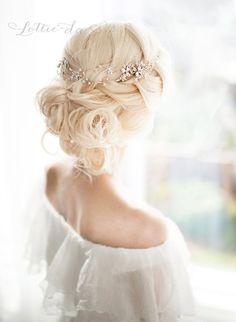 Rose Gold Flower Hair Vine Crown Headband, Halo Hair Wreath, Forehead band, Wedding Hair Vine, Boho Wedding Headpiece - 'EVE'