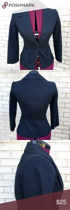 H&M Blazer Jacket Navy Blue White Polka Dots Cute and classy H&M blazer jacket in navy blue with white polka dots that's perfect for Fall. Wonderful condition! Fully lined, extra buttons attached still. Great for work and then going out afterwards! H&M Jackets & Coats Blazers