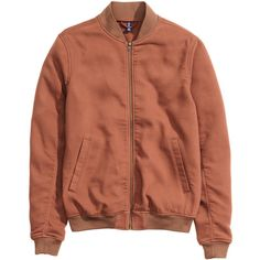 Bomber Jacket $49.99 ($50) ❤ liked on Polyvore featuring outerwear, jackets, brown bomber jacket, blouson jacket, brown jacket, bomber jackets and flight jacket