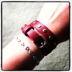Skinny wrap leather bracelet in Cherry Red