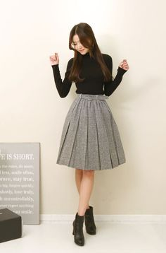 Gray pleated midi... SO cute