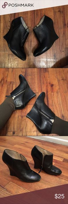 """Leather booties Real leather wedge booties by Nine West. Super cute and super versatile. Zip closure. Soles are in great shape, a few minor signs of wear up top, could use a good polish. 4"""" heels Nine West Shoes Ankle Boots & Booties"""