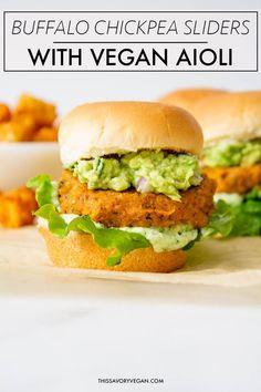 Buffalo Chickpea Sliders with Vegan Basil Aioli - This Savory Vegan - Sandwich - French Recipes Vegan Vegetarian, Vegetarian Recipes, Cooking Recipes, Healthy Recipes, Yummy Vegan Meals, Firm Tofu Recipes, Basil Recipes, Vegan Dinner Recipes, Burger Recipes