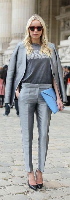 Suit with a T-shirt. Sandals or flip-flops, not heels. Ideally, dorky sandals like tevas or Birkenstocks