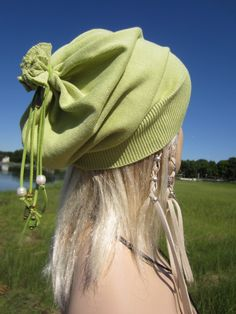 1336f79b44d Slouch Tam BOHO Summer Slouchy Beanie Hat Women s Cotton Baggy Leather Tie  Back Lime Green Shell Fresh Water Pearls A1299C