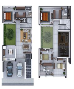 ❤️ Floor Plan Design 😍 Model with Realistic Rendering 👉Contact us Townhouse Designs, Duplex House Design, Duplex House Plans, Small House Design, Dream House Plans, Modern House Design, House Layout Plans, Family House Plans, House Layouts