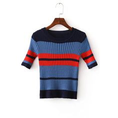 Yoins Blue Stripe Pattern Knitted Round Neckline Jumper ($18) ❤ liked on Polyvore featuring tops, sweaters, blue, striped top, stripe sweater, blue jumper, blue striped sweater and blue striped top