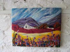 textile art felt picture original landscape by SueForeyfibreart,