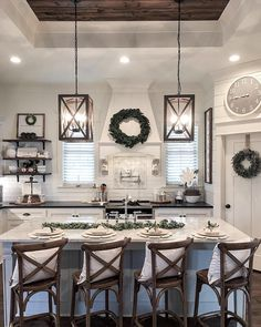 This Kitchen Has Some Serious Decor Goals Like The Wood Planked Tray Ceiling