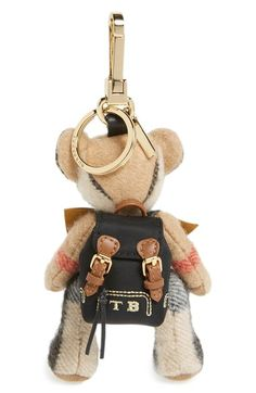 'Thomas Rucksack Bear' Check Cashmere Bag Charm