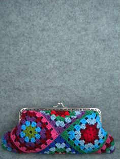 Crochet Purse - Spring colours crochet handmade bag with strap