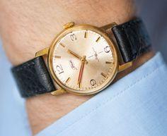 Gold shiny face men's watch retro dress watch gold by SovietEra