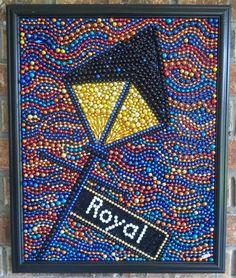 Mardi Gras bead mosaic, lamp post, New Orleans, blue, street light, 16x20, orange, yellow, gold, red, abstract, bead art, wall art, colorful