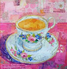Shop for tea art from the world's greatest living artists. All tea artwork ships within 48 hours and includes a money-back guarantee. Choose your favorite tea designs and purchase them as wall art, home decor, phone cases, tote bags, and more! Paper Collage Art, Paper Art, Food Art For Kids, Thing 1, Tea Art, Coffee Art, Coffee Cups, Painted Paper, Magazine Art