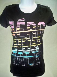 Aeropostale-Womens-Juniors-Short-Sleeve-Graphic-T-shirt-Black-size-S-Aero-Tee
