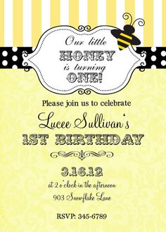 12 Bumble Bee Birthday Party or Baby Shower by noteablechic, $12.50