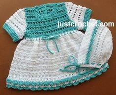 Free crochet pattern for cotton dress and bonnet http://www.justcrochet.com/cotton-dress-usa.html #justcrochet #patternsforcrochet: