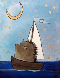 Hedgehog in Sailboat Original Nursery Art Kids Room Decor Whimsical Painting Woodland Animal