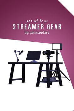 """grimcookies: """" STREAMER GEAR COLLECTION """"For my second set this month I've created a deco streamer set-up for your sims! The four objects are separate so that you can customize your sims set up. Sims 4 Teen, Sims Four, Sims 4 Mm Cc, Sims 4 Toddler, My Sims, Los Sims 4 Mods, Sims 4 Game Mods, Maxis, Sims 4 Collections"""