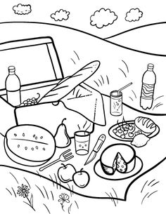 Printable gumball machine coloring page free pdf download for Picnic scene coloring page