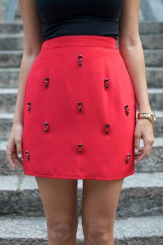 DIY Jeweled Red Skirt