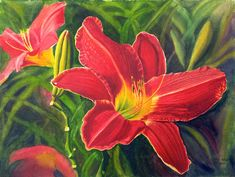Red Daylily Art Watercolor Painting Print by by CathyHillegas