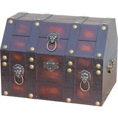 Antique Pirate Treasure Chest with Lion Rings (78 AUD) ❤ liked on Polyvore featuring home, furniture, storage & shelves, dressers, brown, wood hope chest, antique bedroom dresser, antique hope chest, antique wood dresser and antique bureau