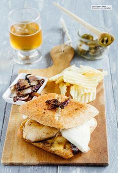 Hamburguesa de champiñones y dos quesos. Receta