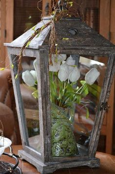 Spring Decor: tulips in a Lantern