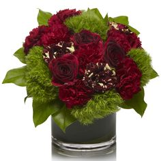 Burgundy carnations and dianthus green tricks accent the rare roses