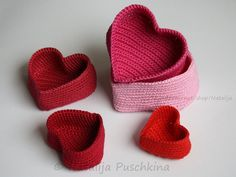 Crochet Pattern of 5 Crochet Basket - Heart