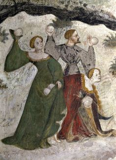 babylonbabys:  Batailles de boules de neige au Moyen Age  Details from the January fresco at Castello Buonconsiglio c. 1405 1410